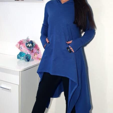 Nxm 205 kapucnis hosszú pulóver kék
