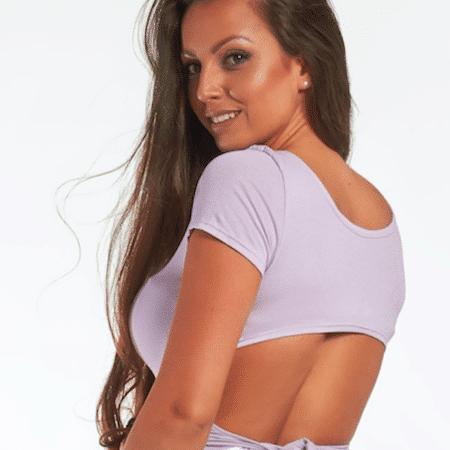 CHICK-011 divatos hátán kivágott női top lila