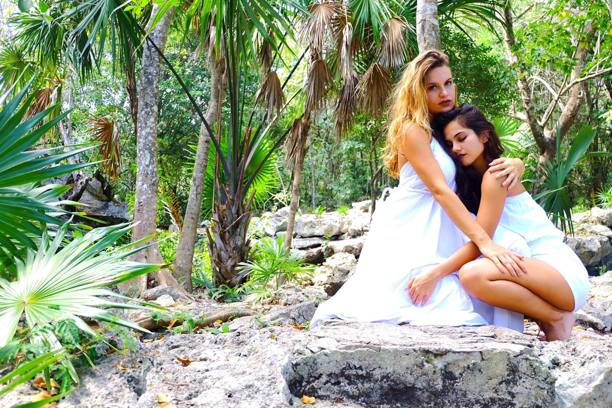 two women near trees